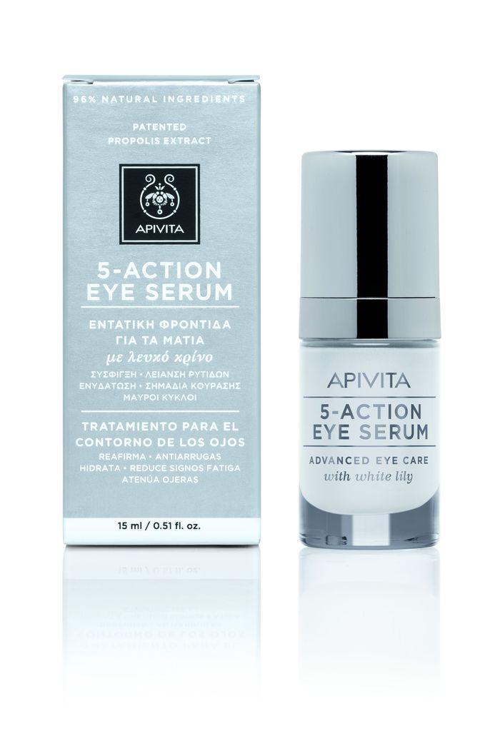 Noutăți Apivita: Serumul 5 action Eye serum cu extract de crin alb