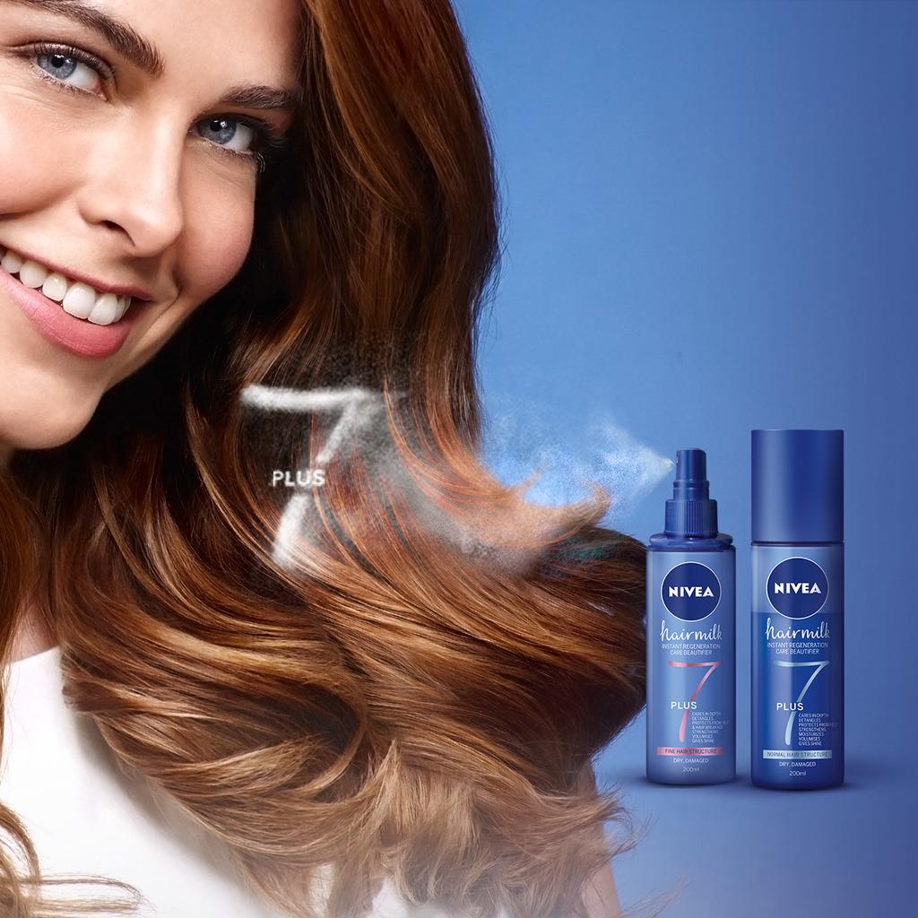 Noutăţi Nivea: Balsam Spray NIVEA Hairmilk 7+ Beneficii
