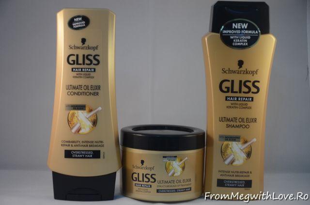 Gama Gliss Ultimate Oil Elixir: şampon, balsam şi mască păr
