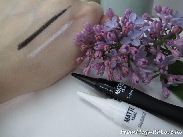 matte kajal, mat, alb, negru, creion ochi, creion, eyeliner, machiaj ochi